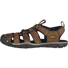 Keen Clearwater CNX Leather Sandals Herre dark earth/black